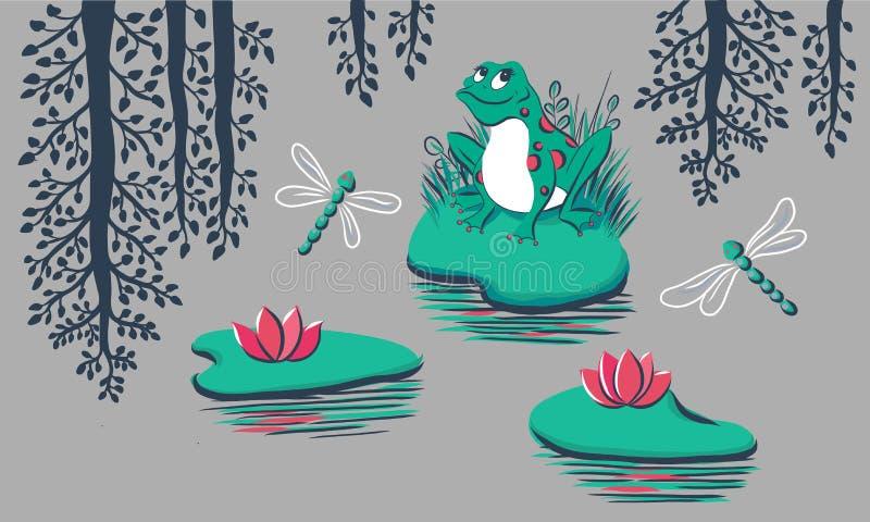 Modèle avec la grenouille, nénuphar, libellule, réflexion d'arbre sur le fond gris illustration de vecteur