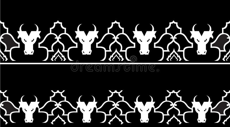 Modèle avec la tête d'un taureau illustration de vecteur