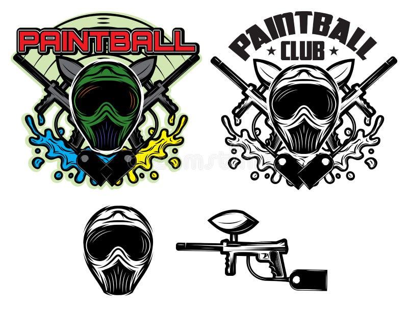 Modèle avec le masque et arme à feu pour le paintball illustration libre de droits