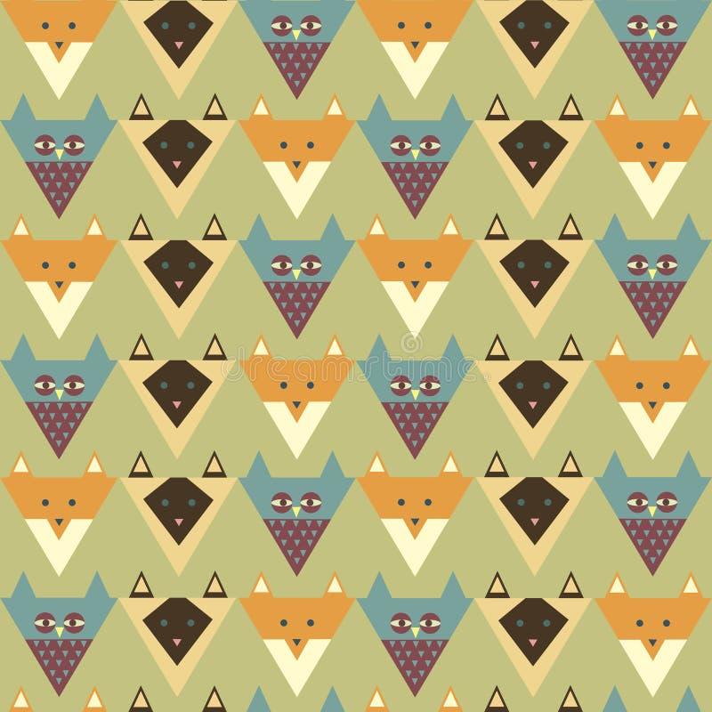 Modèle avec le renard stylisé, hibou, chat illustration stock