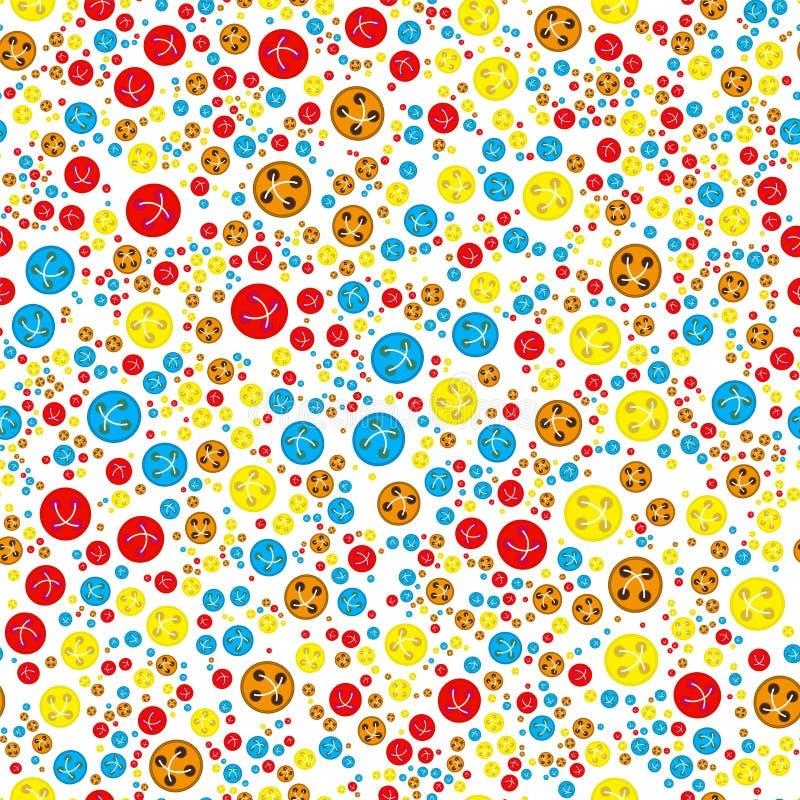 Modèle avec le rouge, boutons jaunes bleus oranges illustration libre de droits