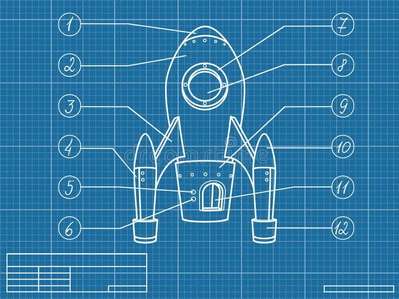 Modèle avec le vaisseau spatial illustration de vecteur