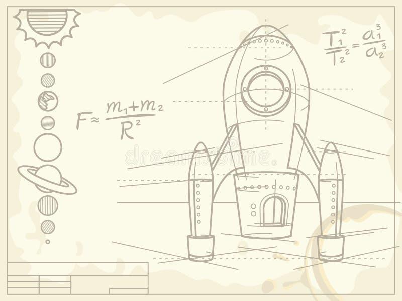 Modèle avec le vaisseau spatial et les planètes illustration libre de droits
