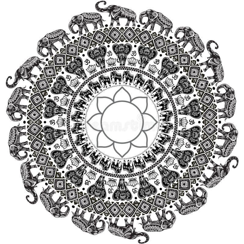 Modèle avec les éléphants décorés illustration stock