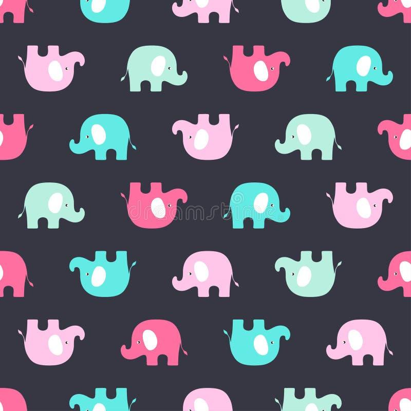 Modèle avec les éléphants roses et bleus illustration de vecteur