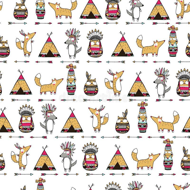 Modèle avec les animaux indiens drôles illustration de vecteur