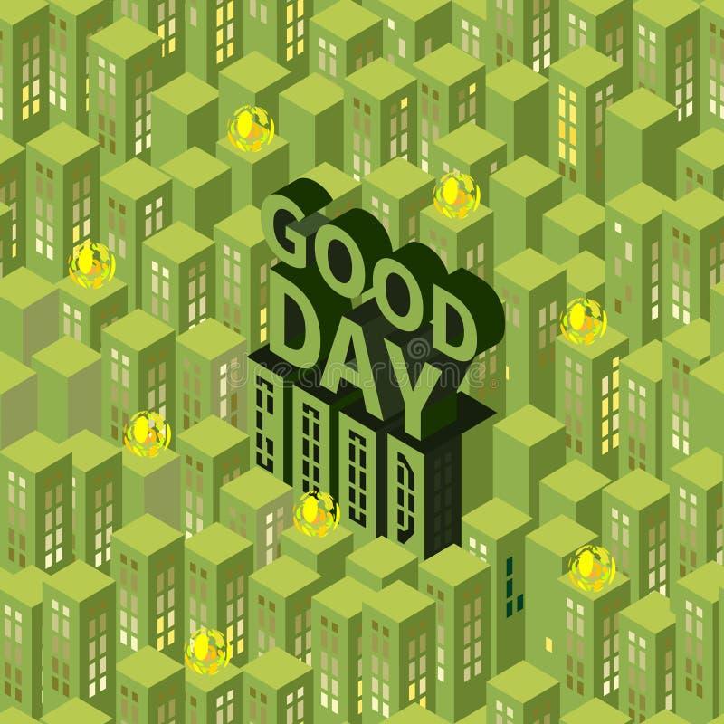 Modèle avec les bâtiments vert clair illustration libre de droits