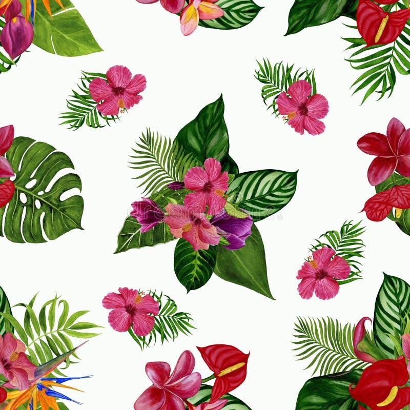 Modèle avec les fleurs et les feuilles tropicales Illustration d'aquarelle photo stock