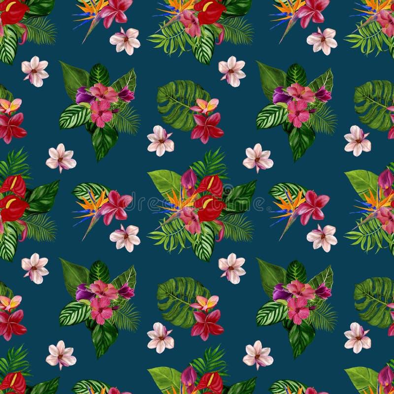 Modèle avec les fleurs et les feuilles tropicales Illustration d'aquarelle photographie stock