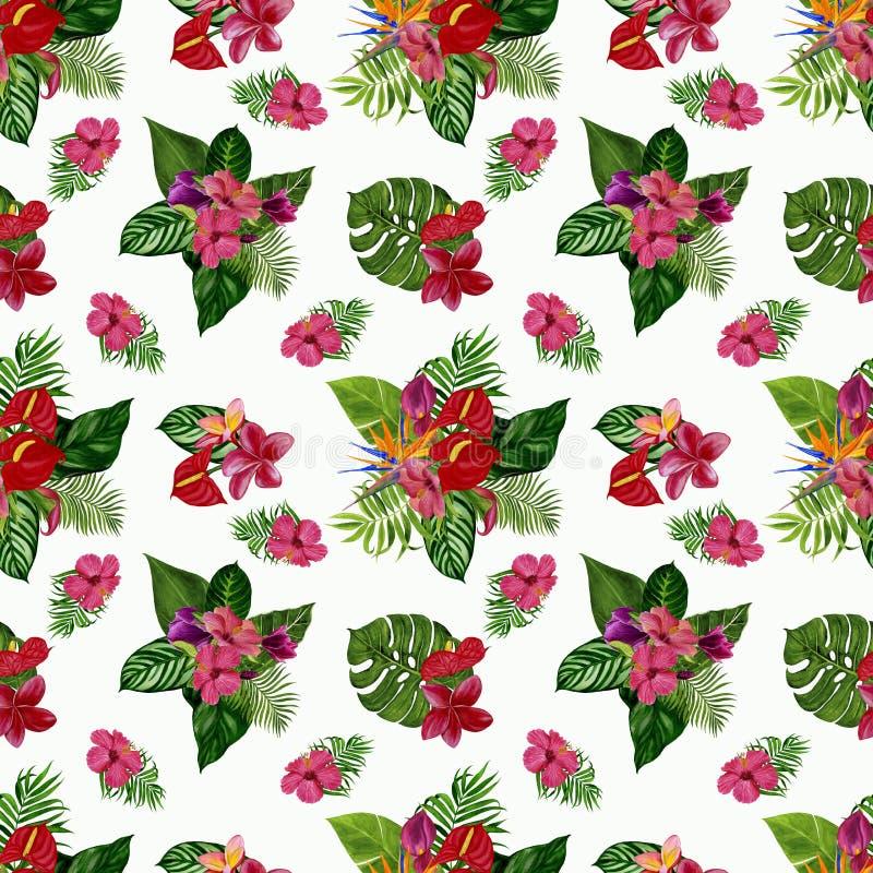 Modèle avec les fleurs et les feuilles tropicales Illustration d'aquarelle images libres de droits