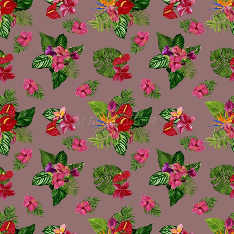 Modèle avec les fleurs et les feuilles tropicales Illustration d'aquarelle photo libre de droits