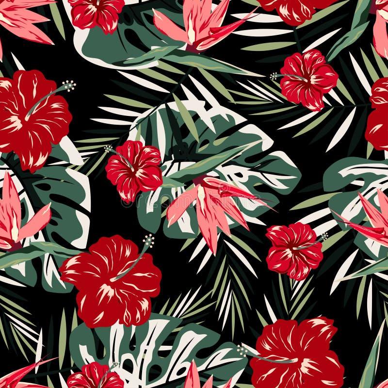 Modèle avec les fleurs rouges et roses illustration de vecteur