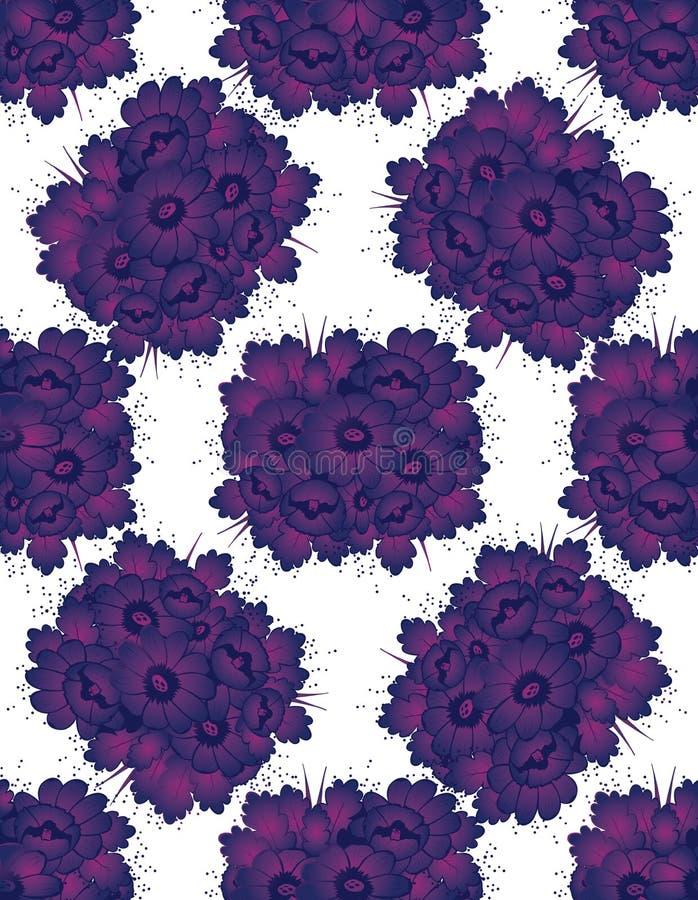 Modèle avec les fleurs violettes de dessin illustration stock