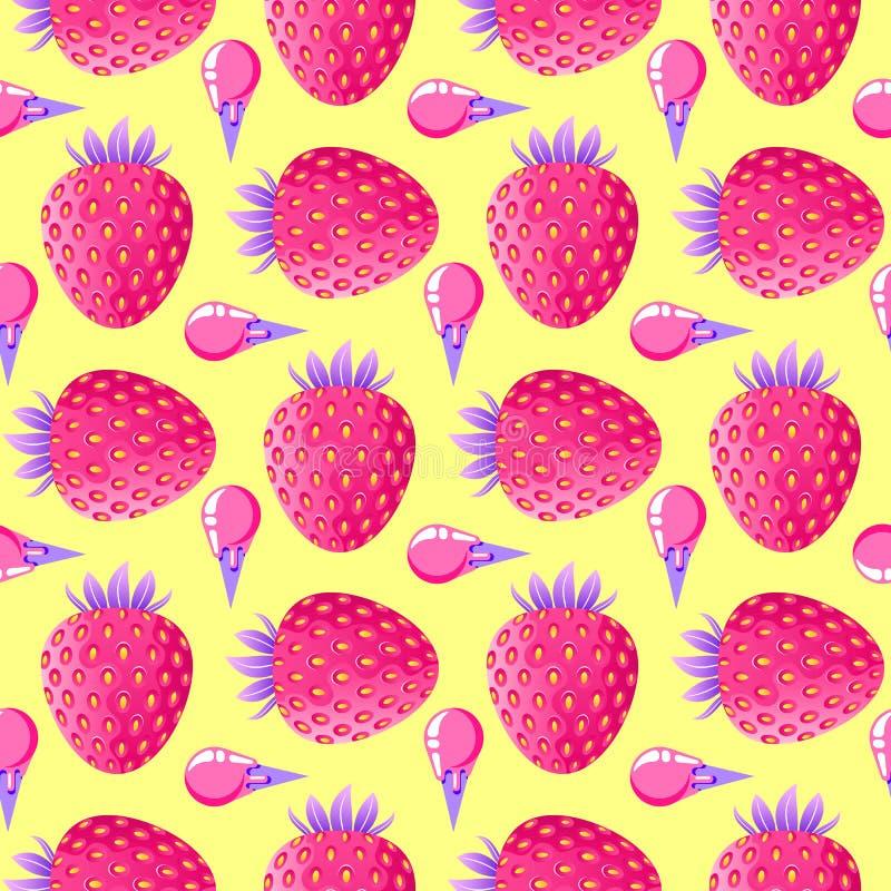 Modèle avec les fraises et la crème glacée  illustration de vecteur