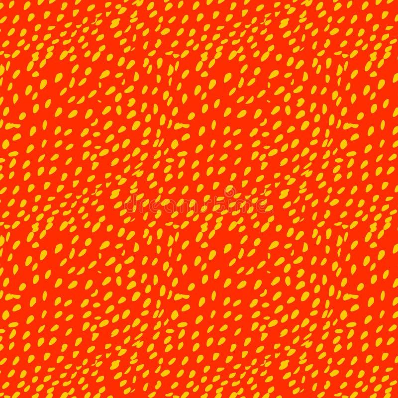 Modèle avec les graines jaunes de fraise sur un rouge illustration de vecteur