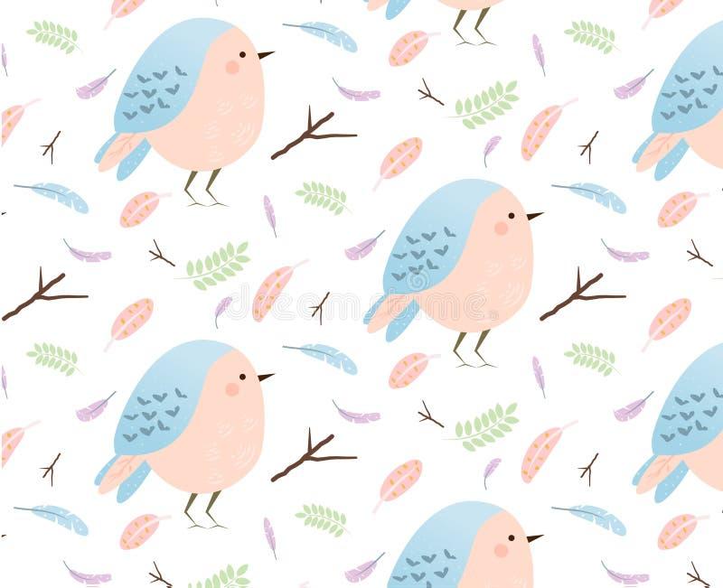 Modèle avec les oiseaux et les plumes mignons Fond pour naturel, conception saisonnière de printemps Thème de forêt et de nature illustration libre de droits