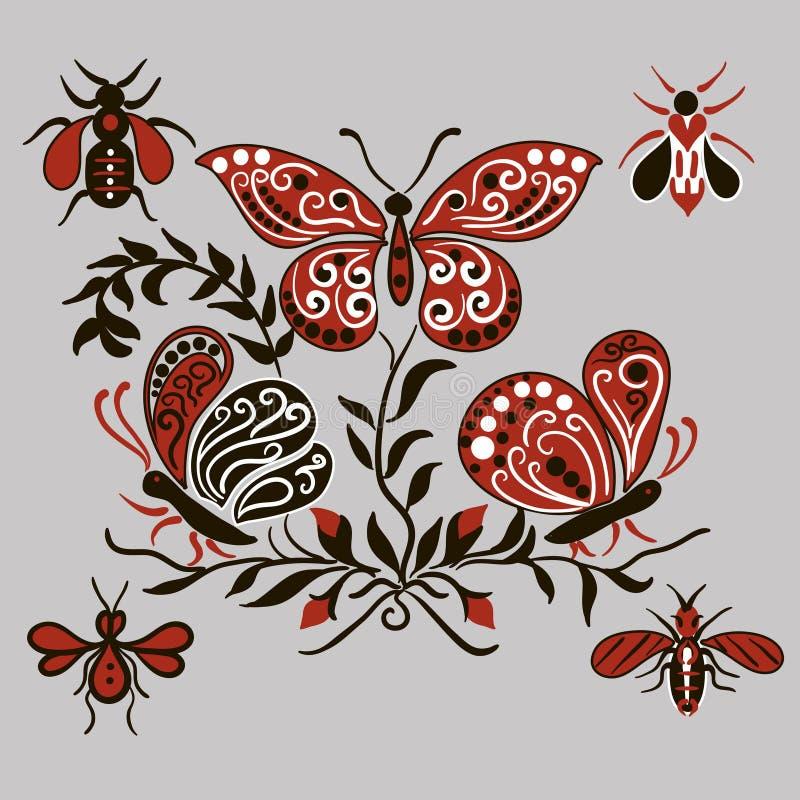 Modèle avec les papillons noirs et rouges illustration stock