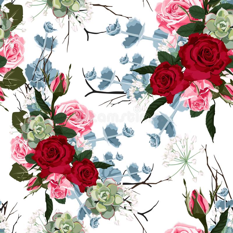 Modèle avec les roses roses rouges et succulent sans couture, illustration de vecteur illustration de vecteur