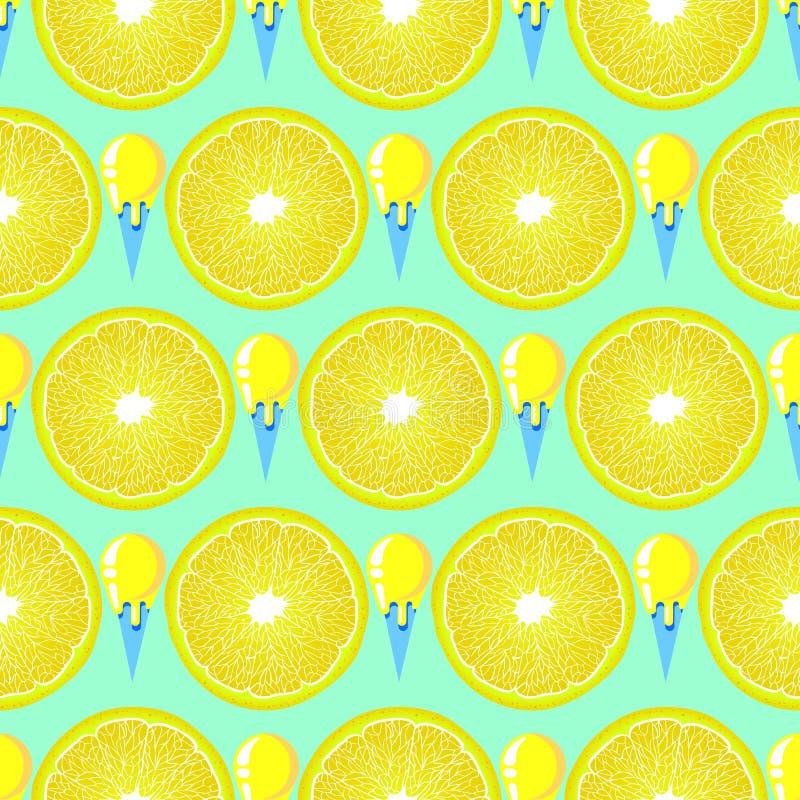 Modèle avec les tranches de citron et la crème glacée  illustration libre de droits