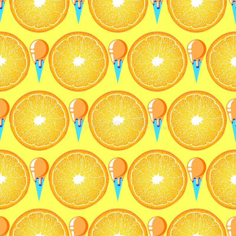 Modèle avec les tranches et la crème glacée oranges illustration libre de droits