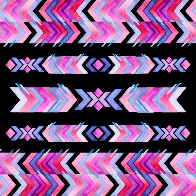 Modèle aztèque d'aquarelle d'inspiration de textile de Navajo Amer indigène illustration stock