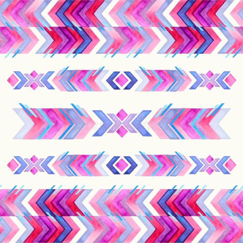Modèle aztèque d'aquarelle d'inspiration de textile de Navajo Amer indigène illustration libre de droits