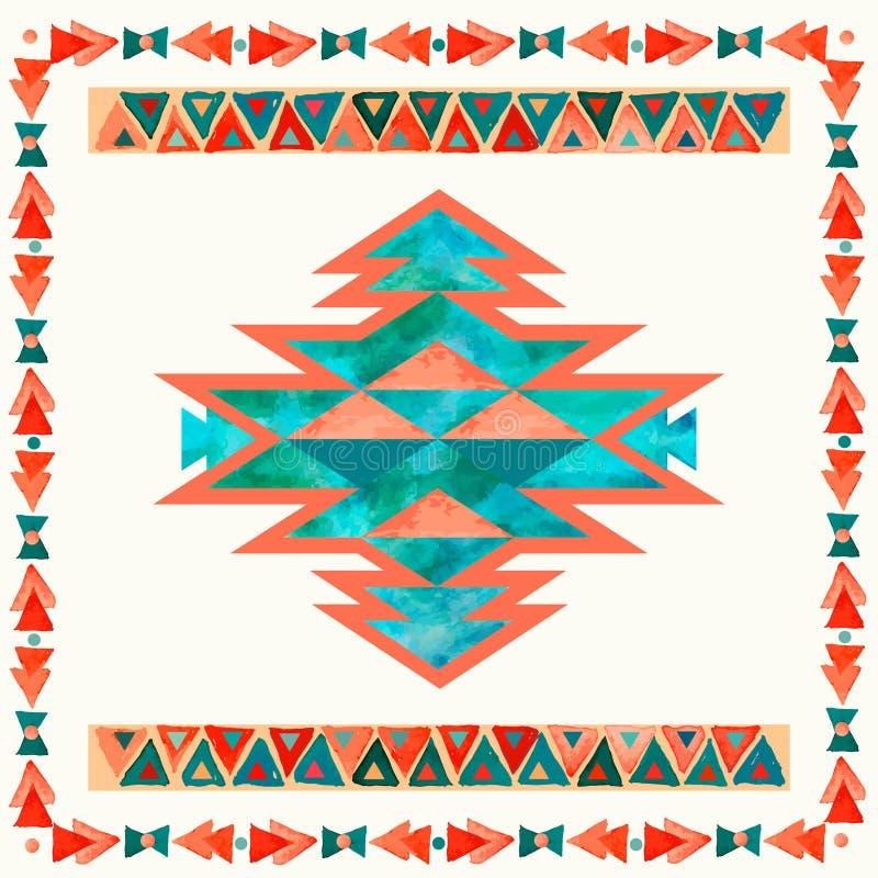 Modèle aztèque d'inspiration de textile de Navajo Indien d'Amerique indigène illustration libre de droits