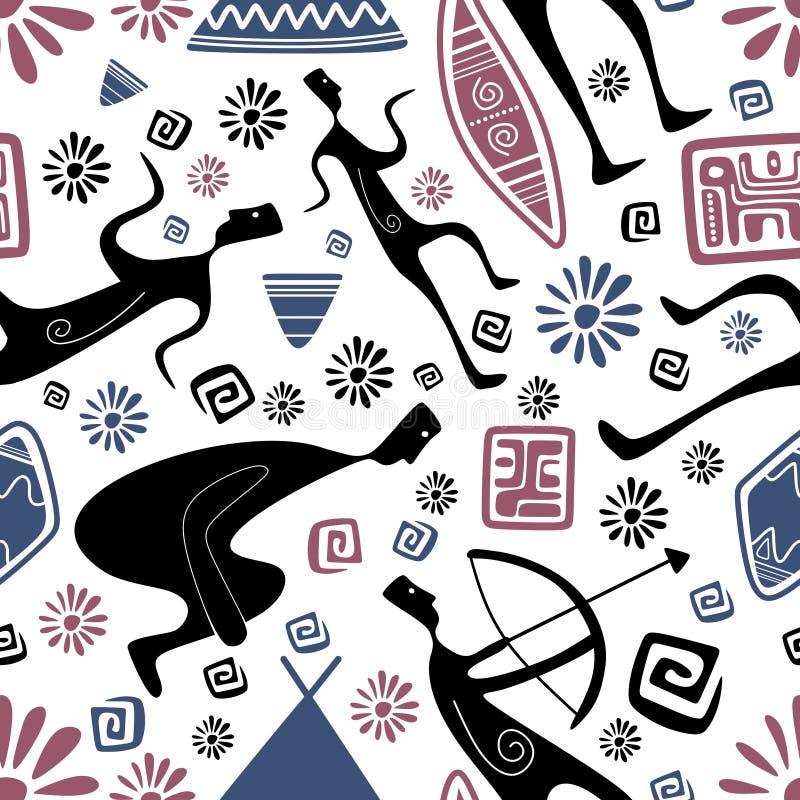 Modèle aztèque de dessin ethnique antique de Maya illustration de vecteur