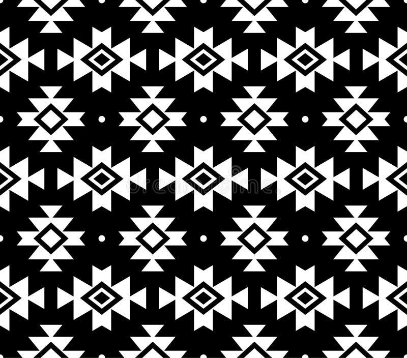Modèle aztèque, fond tribal, conception de Navajo dans le blanc sur le fond noir illustration de vecteur