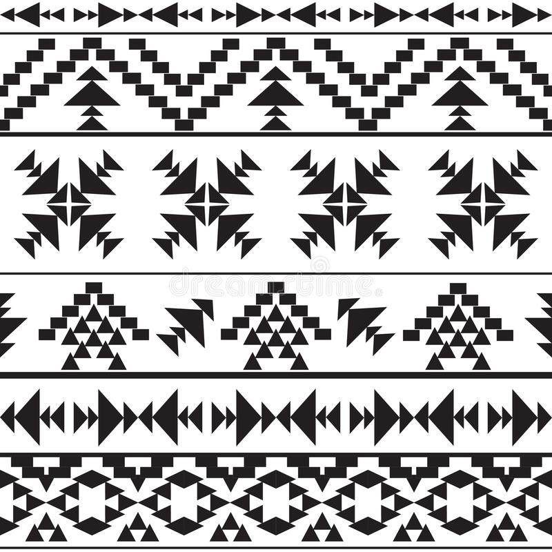 Modèle aztèque noir et blanc sans couture illustration libre de droits