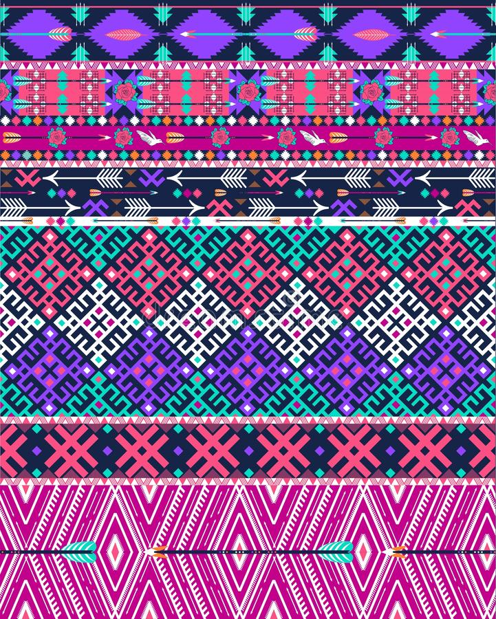 Modèle aztèque sans couture tribal avec des oiseaux et des fleurs illustration stock