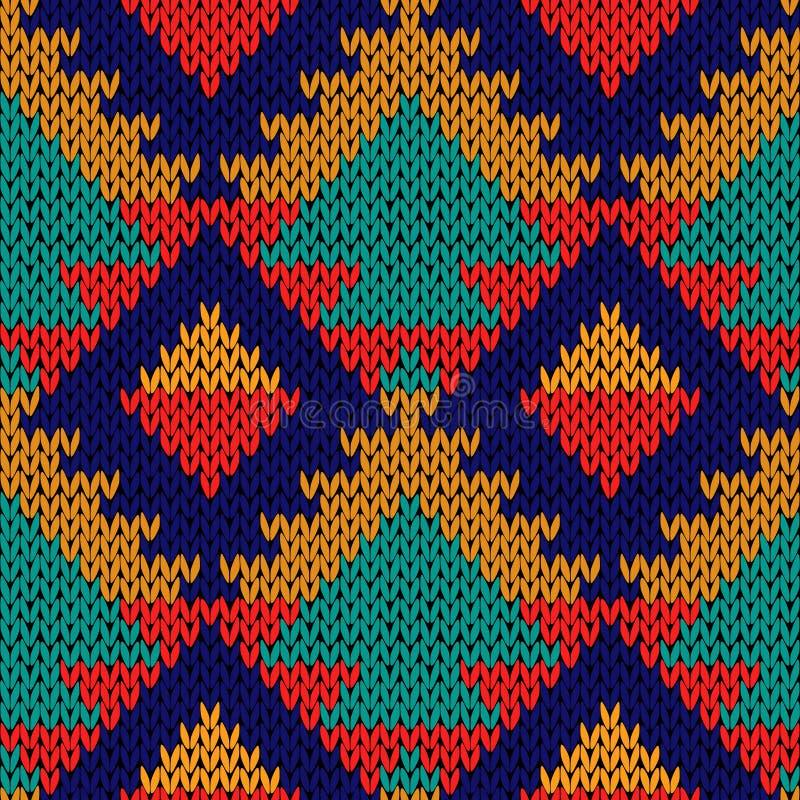 Modèle bariolé géométrique multicolore tricoté sans couture illustration stock