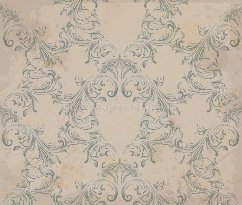 Modèle baroque d'ornement de vecteur Vieux fond de papier Textures douces de tissu de décor de vintage illustration stock