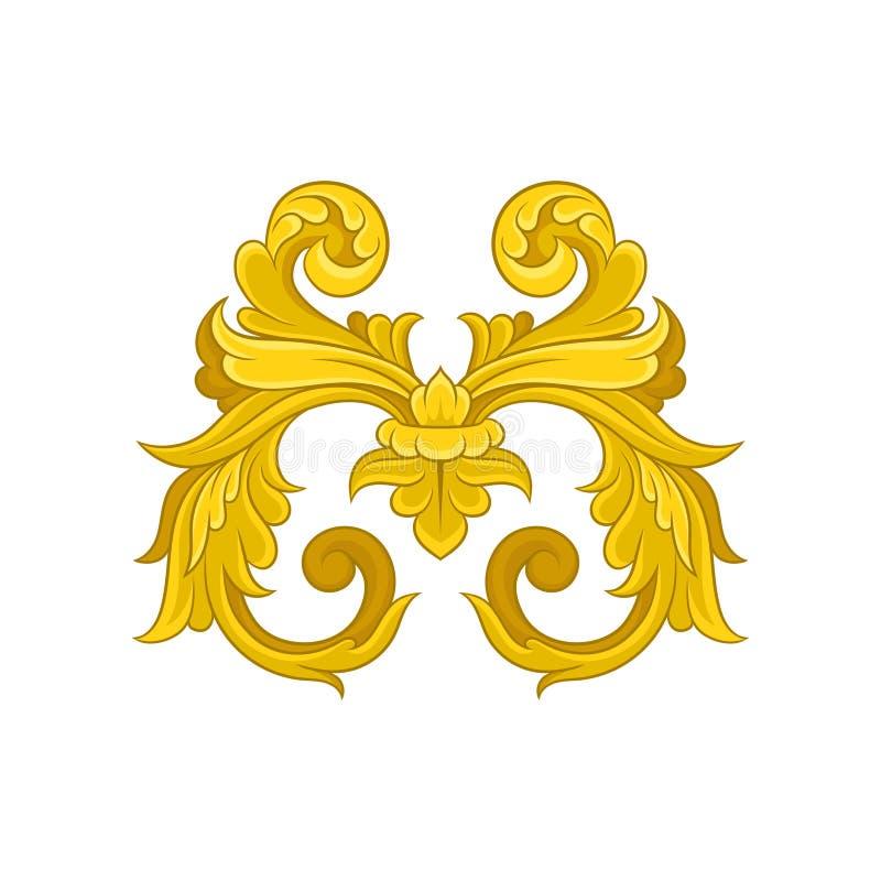 Modèle baroque d'or Ornement floral décoratif dans le style victorien Élément ornemental luxueux Conception de vecteur illustration stock