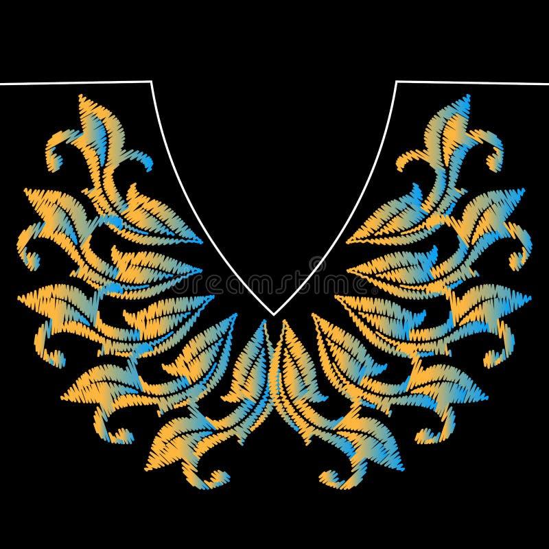 Modèle baroque de broderie d'encolure Dirigez hacher la texture grunge Fleurs colorées de cru de tapisserie Style baroque antique illustration libre de droits