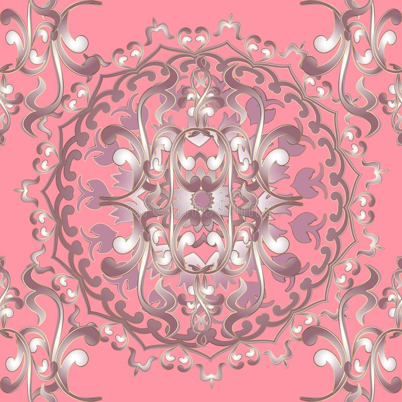 mod?le baroque sans couture floral ornemental de mandala du vecteur 3d Fond rose d'?l?gance de cru Ext?rieur ornement de damass?  illustration de vecteur
