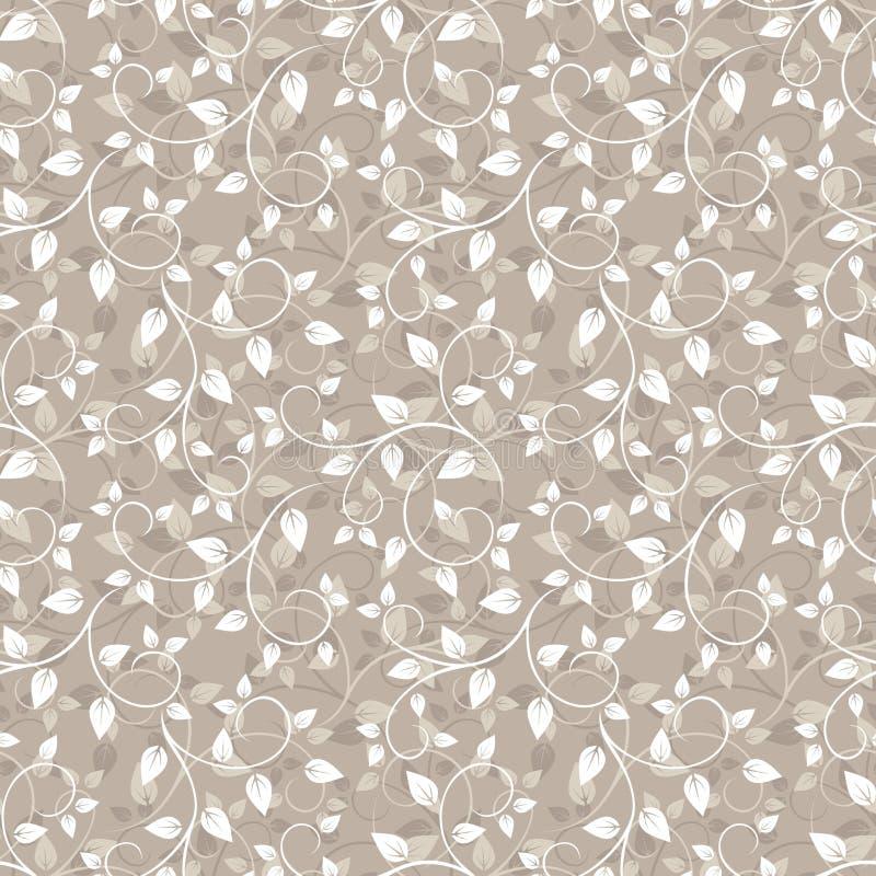Modèle beige sans couture avec des feuilles. illustration stock