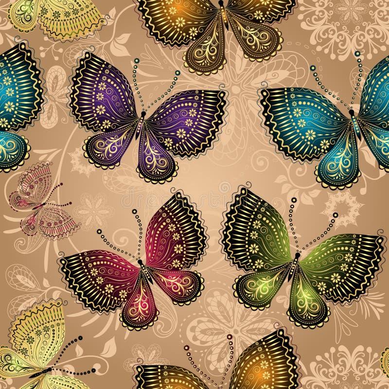 Modèle beige sans couture avec les papillons colorés lumineux illustration de vecteur