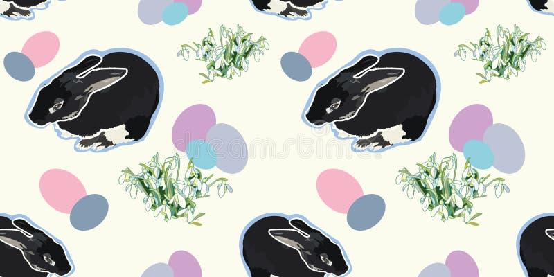Modèle blanc avec le lapin et le perce-neige illustration stock