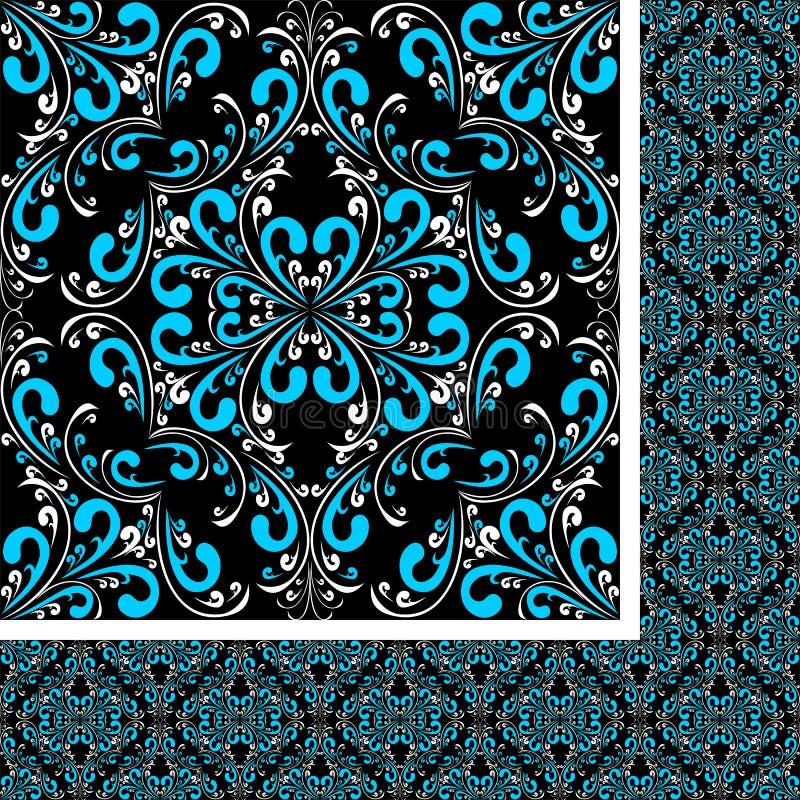 Modèle blanc bleu sans couture de damassé sur le noir illustration libre de droits