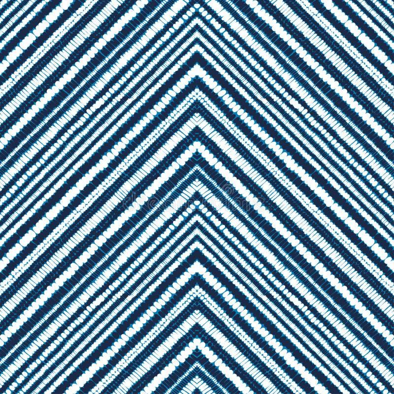 Modèle blanc bleu sans couture de shibori Les rayures horizontales zigzaguent Copie pour des textiles dessin?s ? la main Modèle h illustration stock