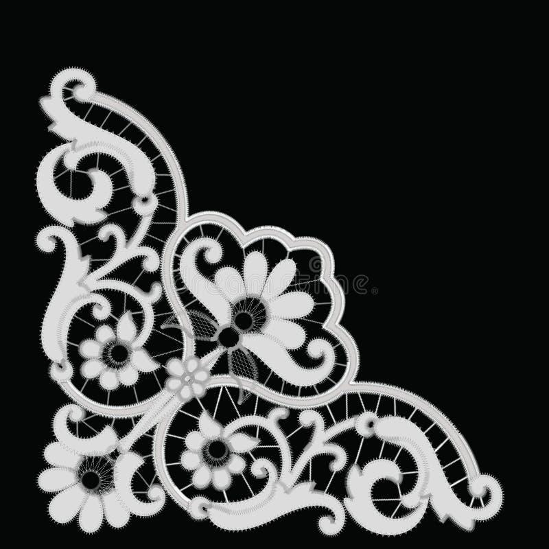 Modèle blanc de broderie de Richelieu sur le fond noir illustration stock
