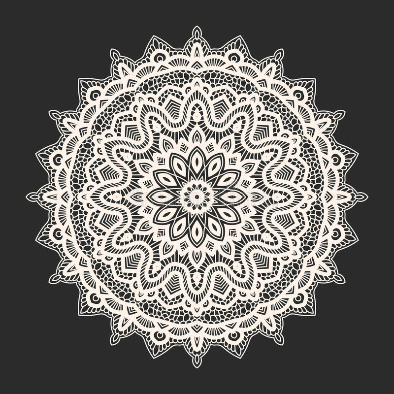 Modèle blanc de dentelle au-dessus de fond noir illustration libre de droits