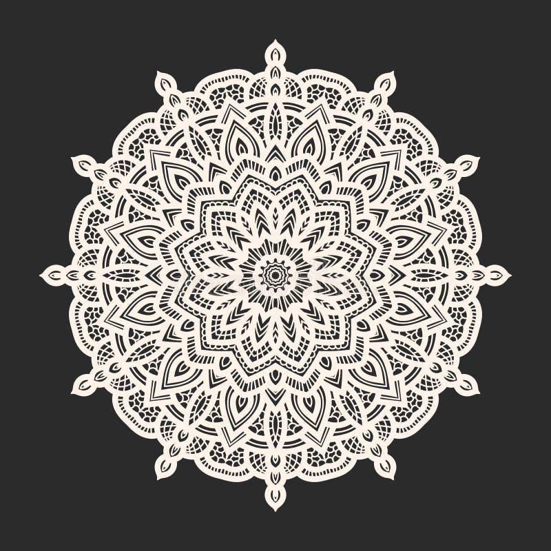 Modèle blanc de dentelle au-dessus de fond noir illustration stock