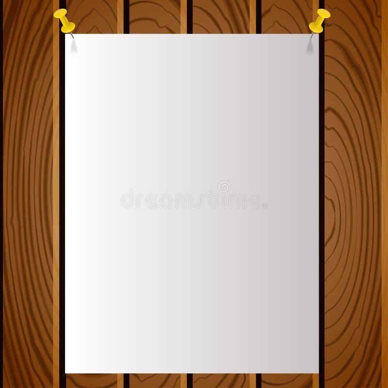 Modèle blanc de poteau de note avec des goupilles sur le conseil en bois illustration de vecteur