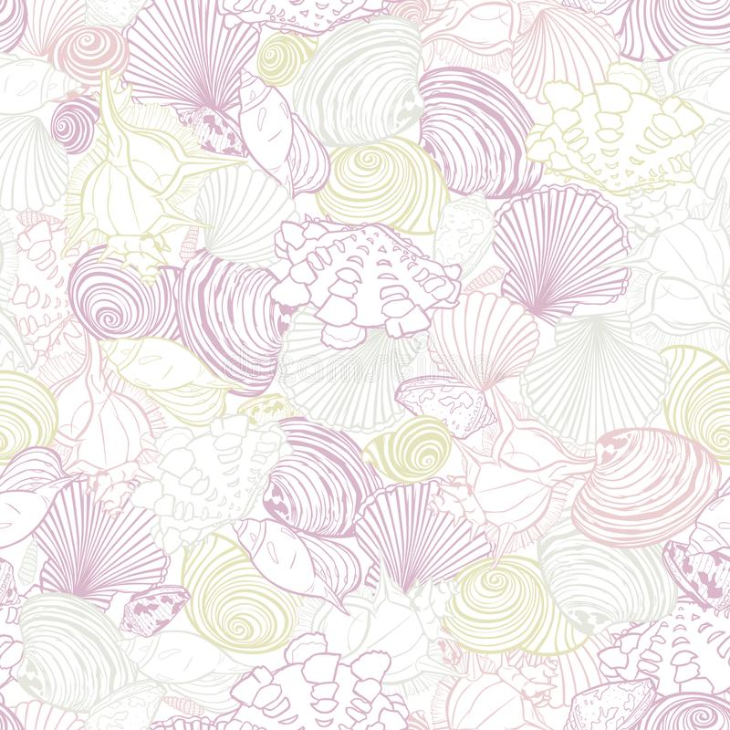Modèle blanc de répétition de vecteur avec la variété de coquillages overlaping Rose romantique et thème en pastel pourpre Perfec illustration libre de droits
