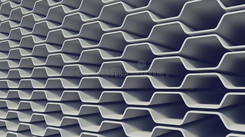 Modèle blanc de surface d'abrégé sur bande de vague rendu 3d illustration de vecteur