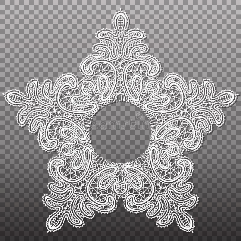 Modèle blanc de tapisserie de dentelle d'étoile Texture complexe abstraite d'isolement par vecteur illustration stock
