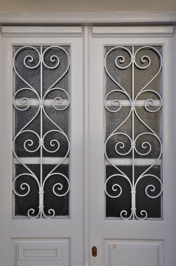 Modèle blanc en métal de porte photo stock