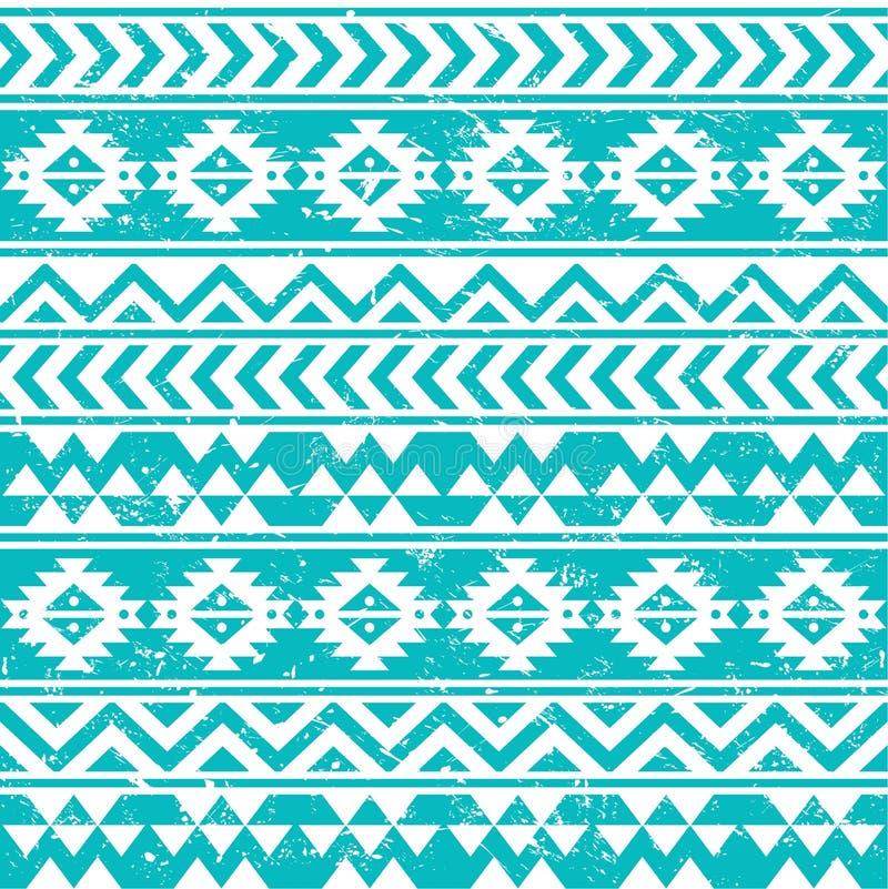 Modèle blanc grunge sans couture tribal aztèque sur le fond bleu illustration libre de droits